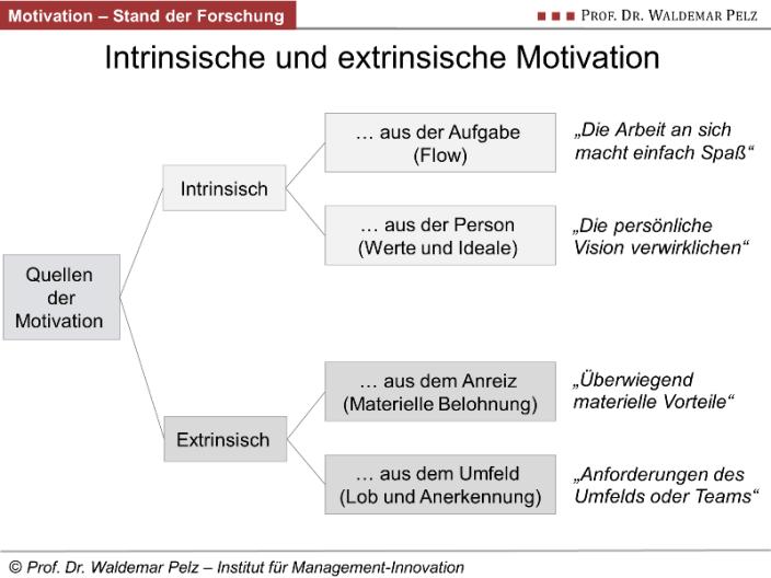 Quellen der intrinsischen und extrinsischen Motivation